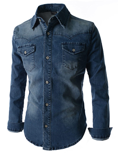 Denim Washed Shirt  MDS4Blue – Online Shopping in Pakistan  Fashion   Cash  on Delivery  mYar.pk 4a491bdd4f